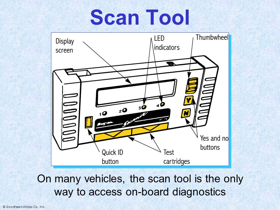 Scan Tool On many vehicles, the scan tool is the only way to access on-board diagnostics