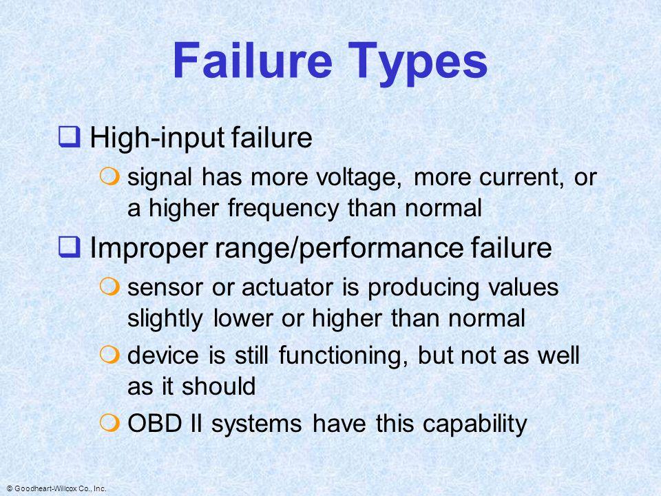 Failure Types High-input failure Improper range/performance failure