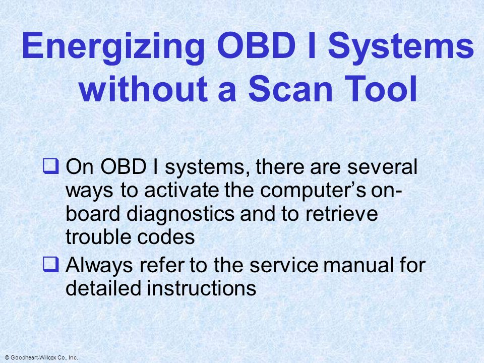 Energizing OBD I Systems without a Scan Tool