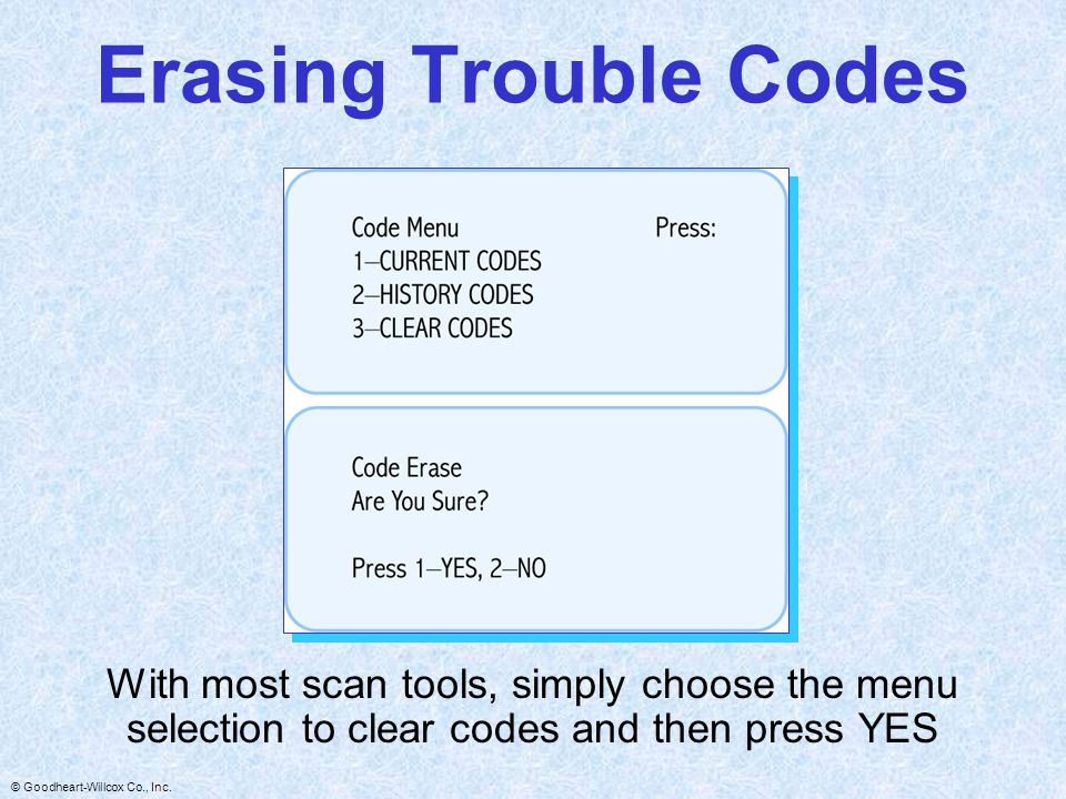 Erasing Trouble Codes With most scan tools, simply choose the menu selection to clear codes and then press YES.