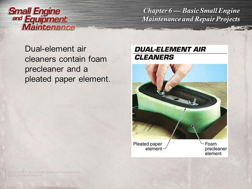 Dual-element air cleaners contain foam precleaner and a pleated paper element.