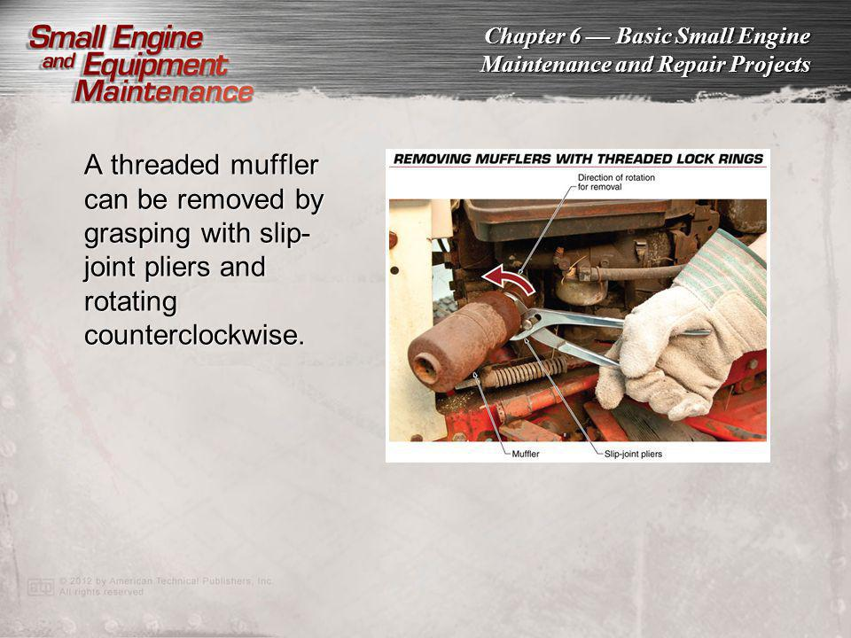 A threaded muffler can be removed by grasping with slip-joint pliers and rotating counterclockwise.
