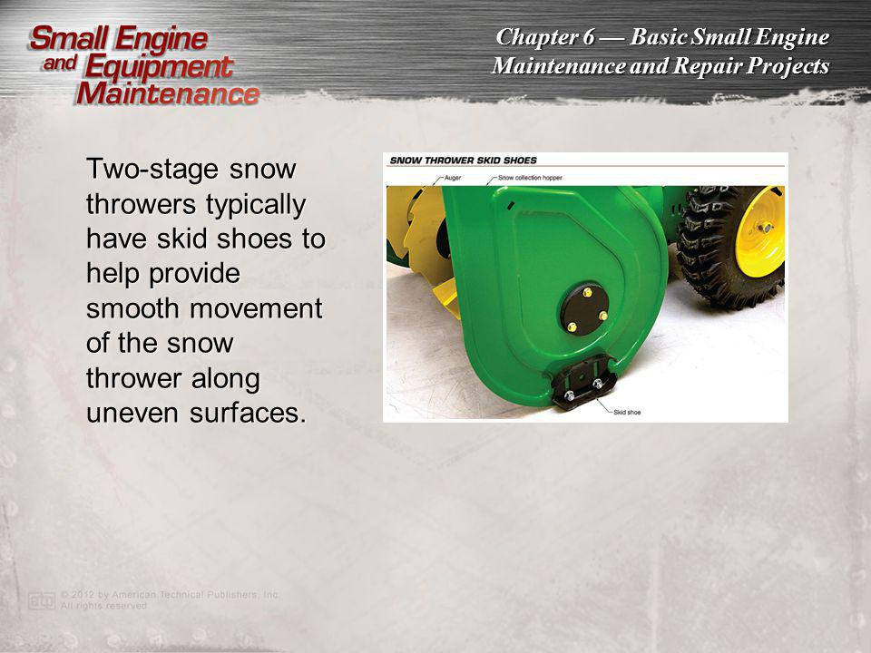 Two-stage snow throwers typically have skid shoes to help provide smooth movement of the snow thrower along uneven surfaces.