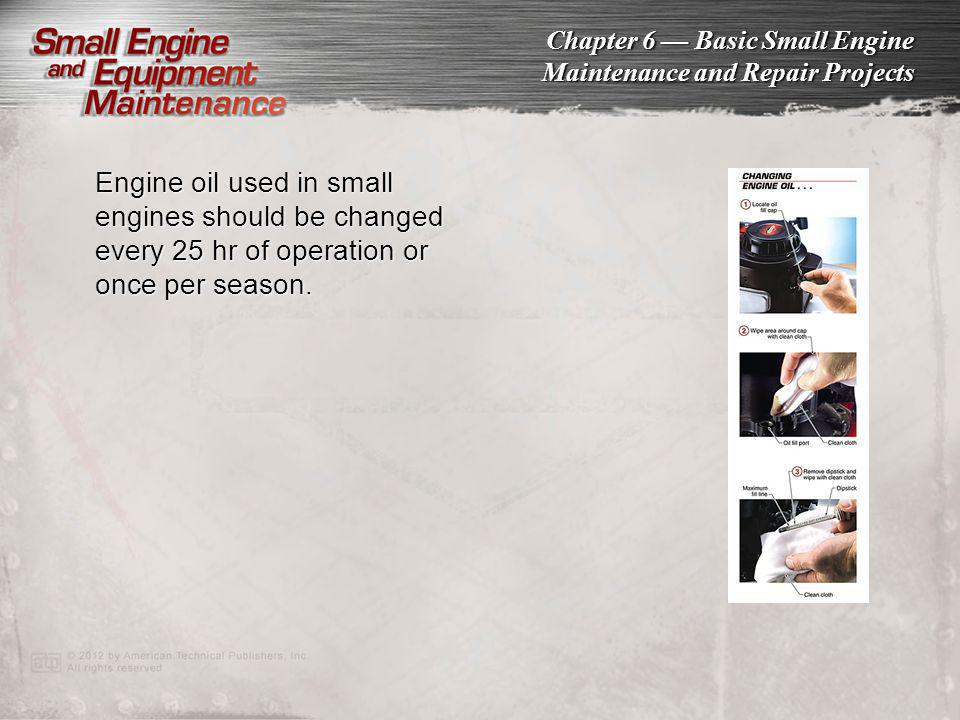 Engine oil used in small engines should be changed every 25 hr of operation or once per season.
