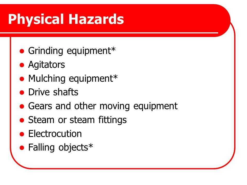Physical Hazards Grinding equipment* Agitators Mulching equipment*