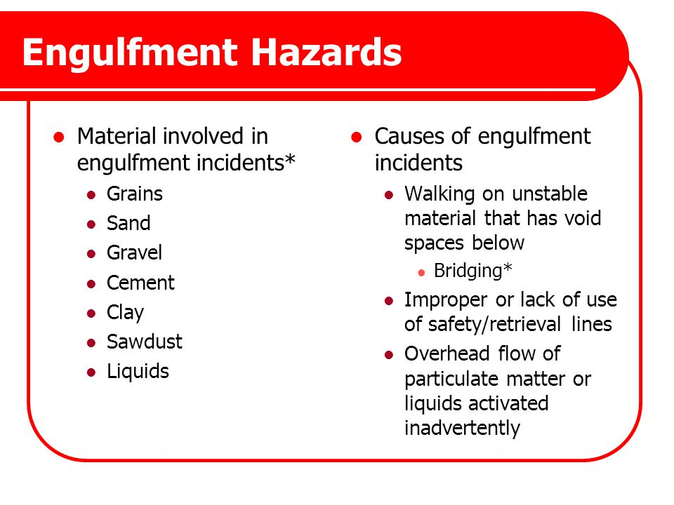 Engulfment Hazards Material involved in engulfment incidents*