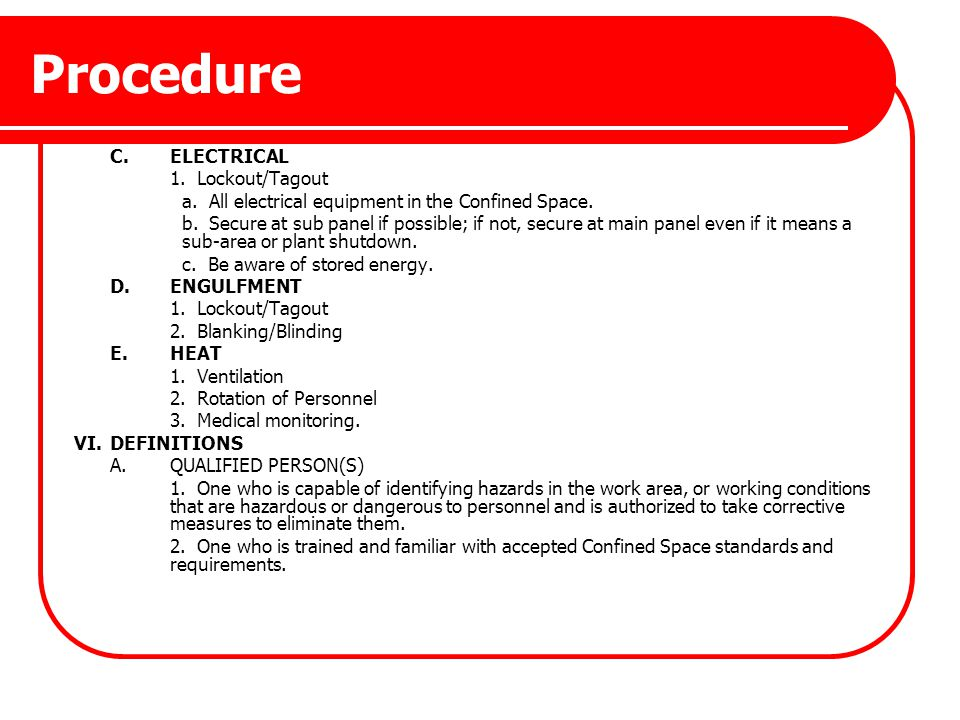 Procedure C. ELECTRICAL 1. Lockout/Tagout