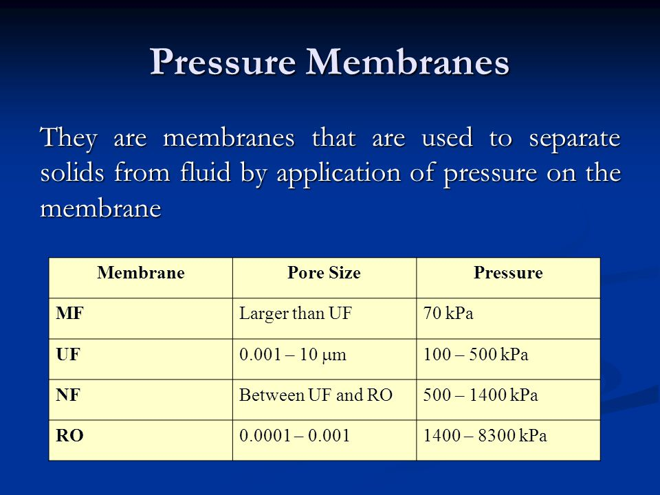 Pressure Membranes They are membranes that are used to separate solids from fluid by application of pressure on the membrane.
