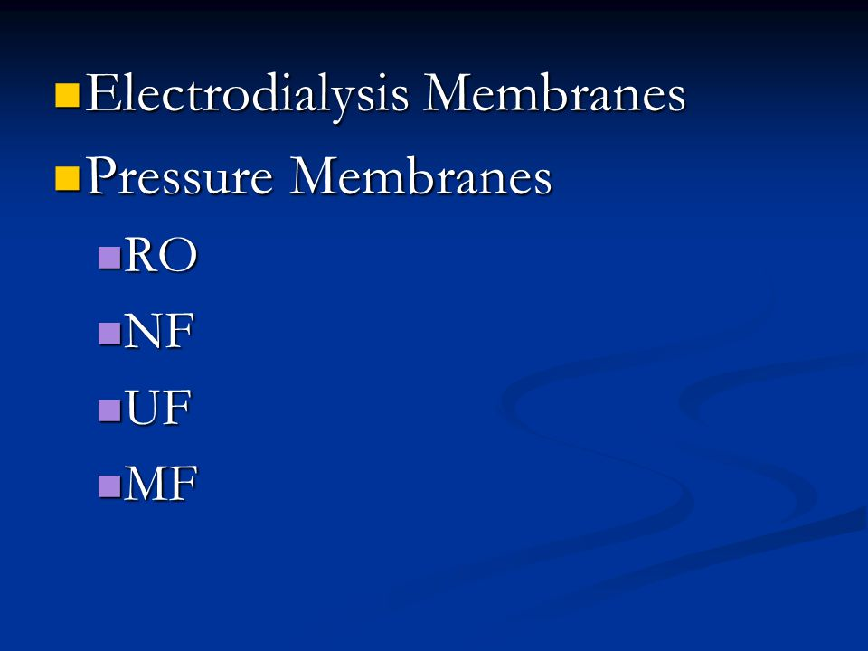 Electrodialysis Membranes Pressure Membranes