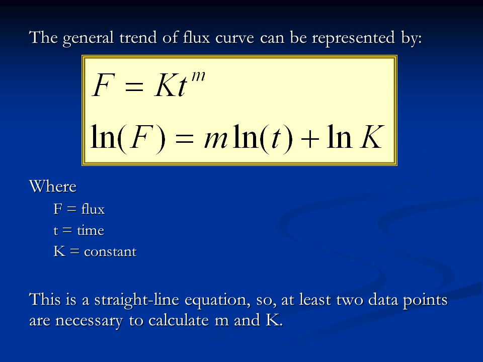 The general trend of flux curve can be represented by: