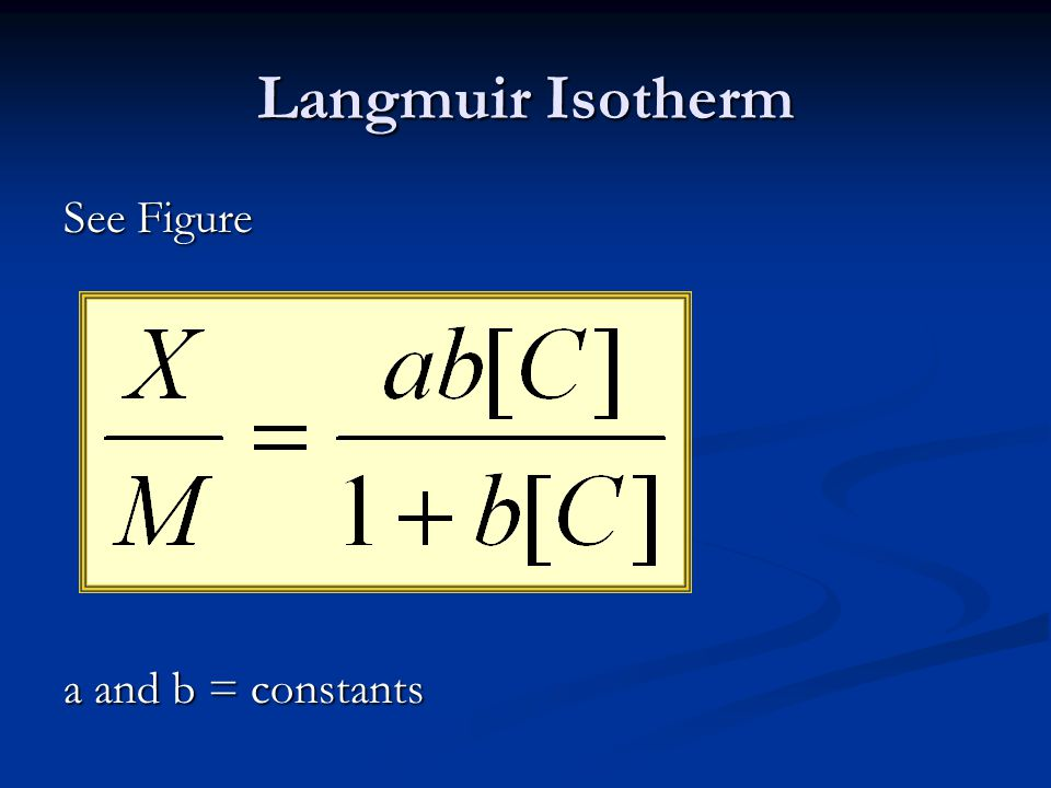 Langmuir Isotherm See Figure a and b = constants