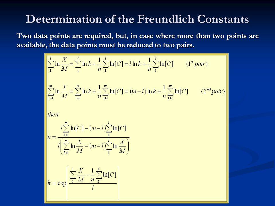 Determination of the Freundlich Constants