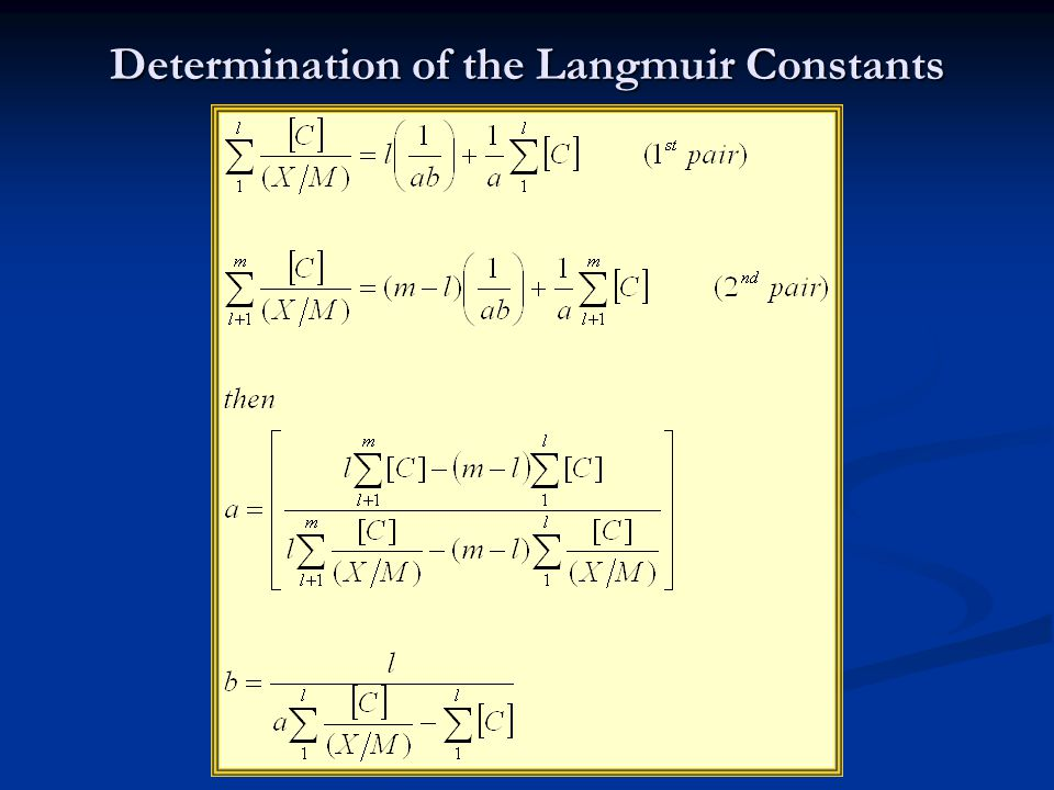 Determination of the Langmuir Constants