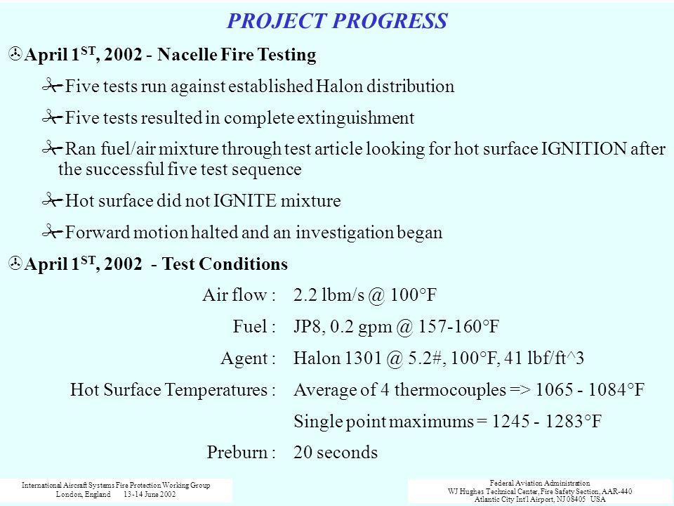 PROJECT PROGRESS April 1ST, 2002 - Nacelle Fire Testing
