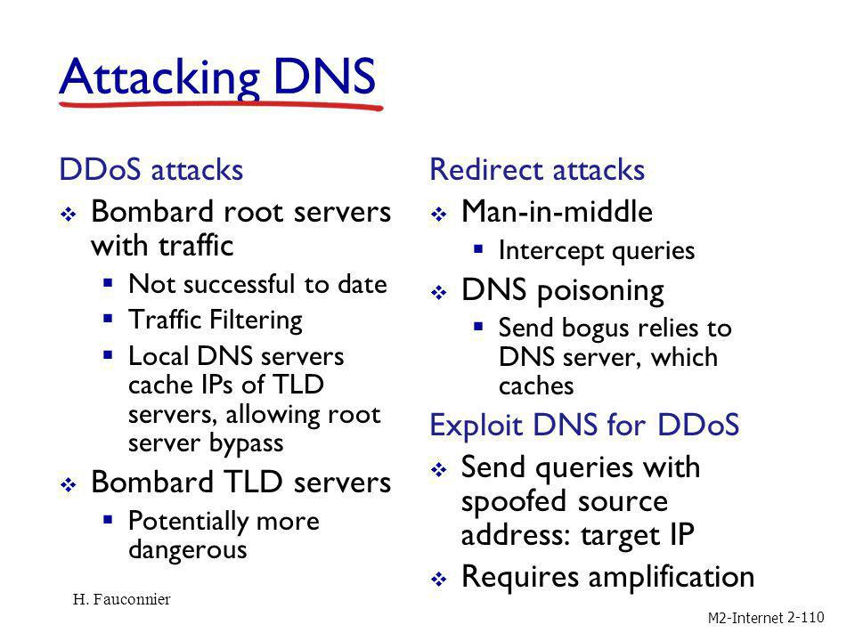 Attacking DNS DDoS attacks Bombard root servers with traffic