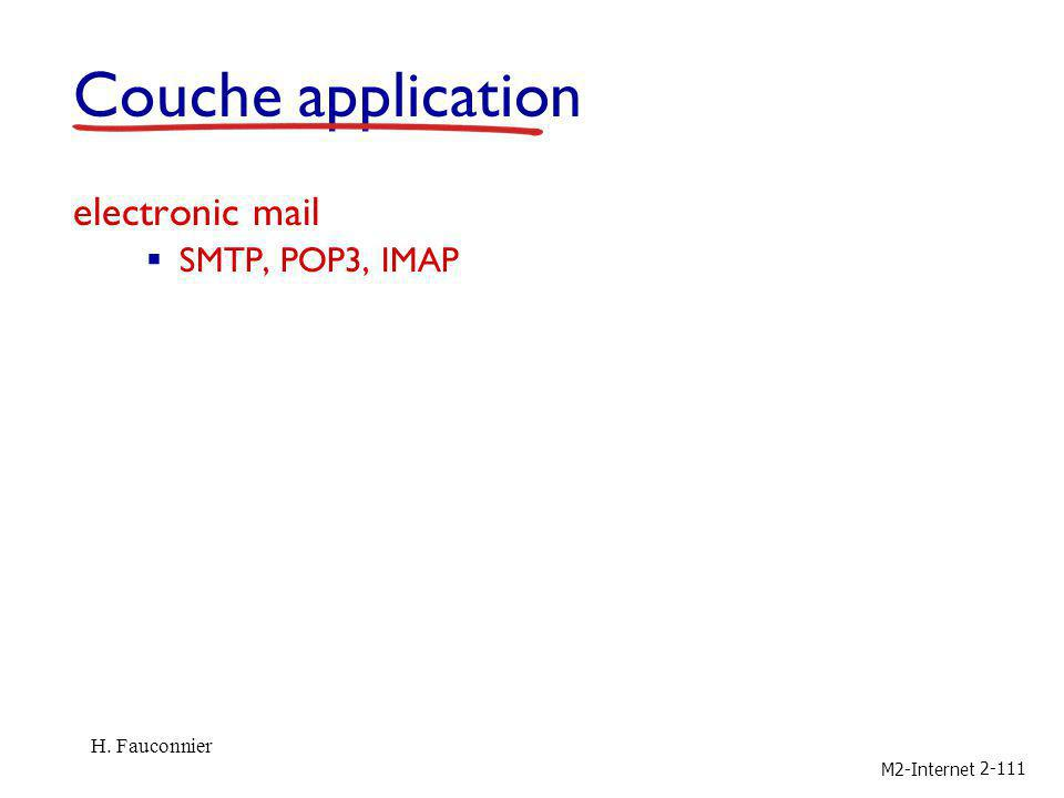 Couche application electronic mail SMTP, POP3, IMAP H. Fauconnier