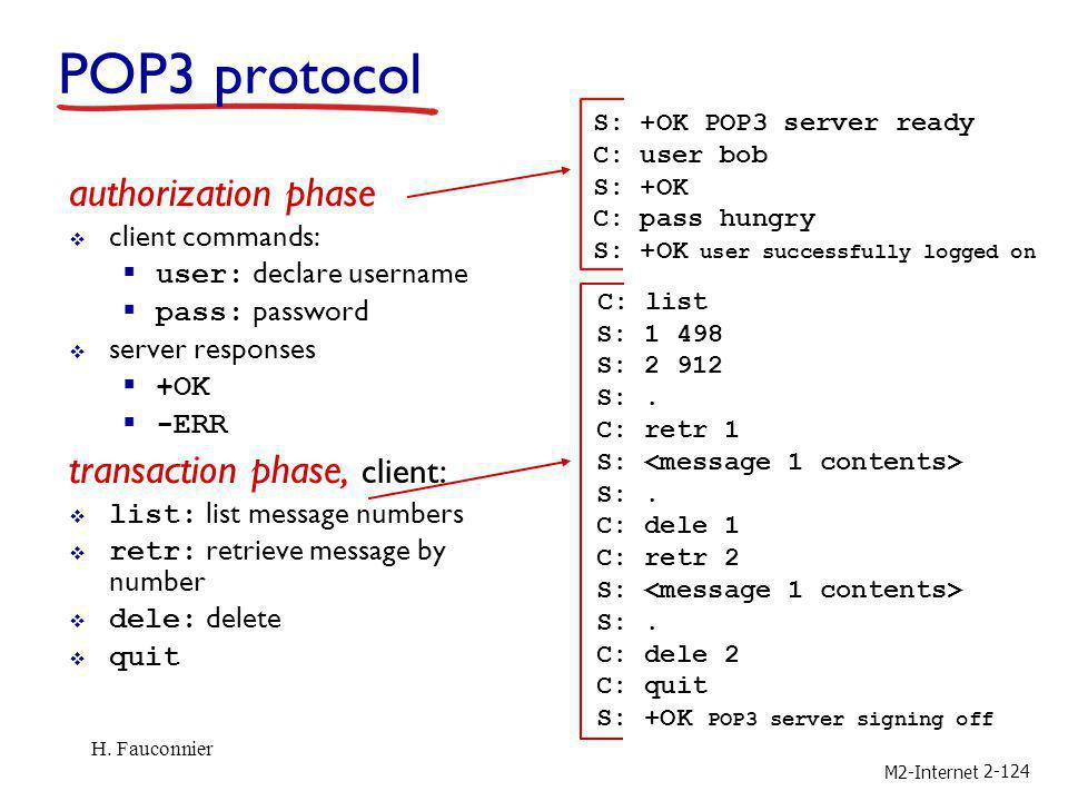 POP3 protocol authorization phase transaction phase, client: C: list