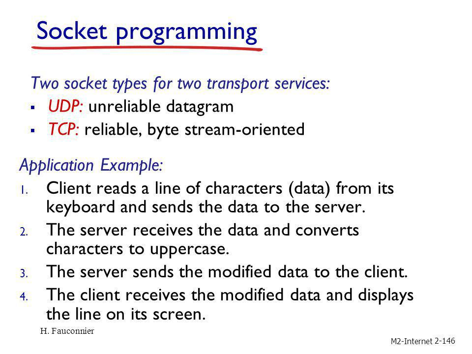 Socket programming Two socket types for two transport services: