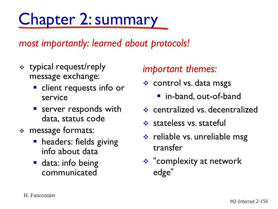Chapter 2: summary most importantly: learned about protocols!