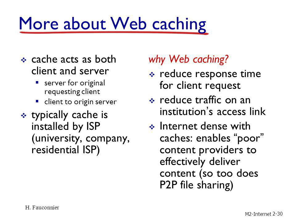 More about Web caching cache acts as both client and server