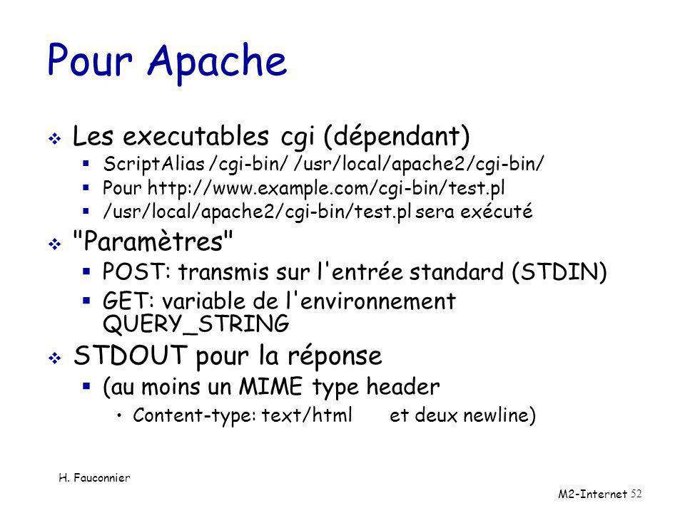 Pour Apache Les executables cgi (dépendant) Paramètres
