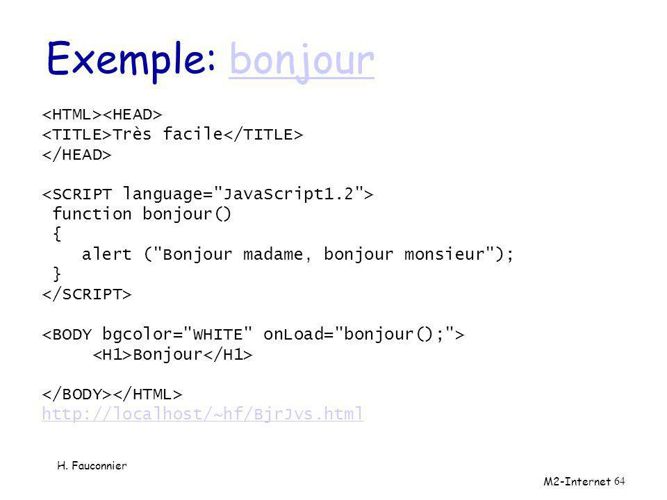 Exemple: bonjour