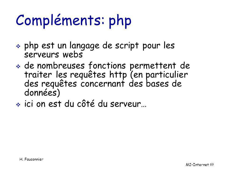 Compléments: php php est un langage de script pour les serveurs webs