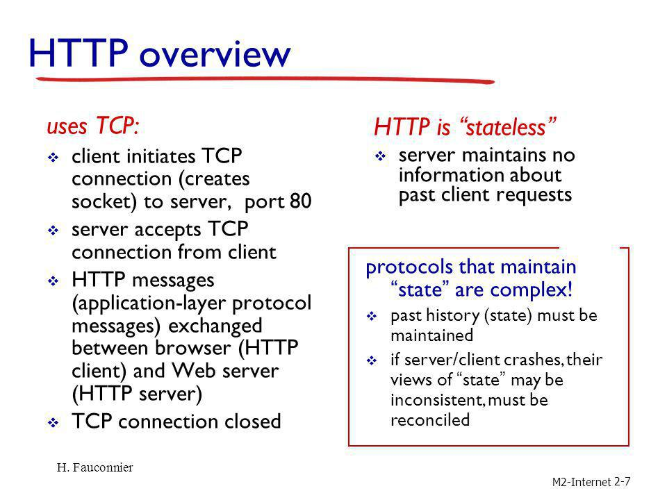 HTTP overview uses TCP: HTTP is stateless