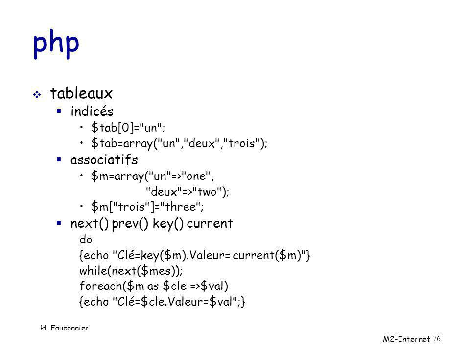 php tableaux indicés associatifs next() prev() key() current