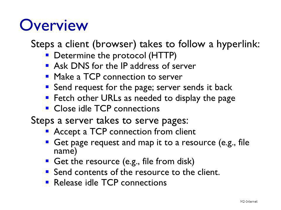 Overview Steps a client (browser) takes to follow a hyperlink: