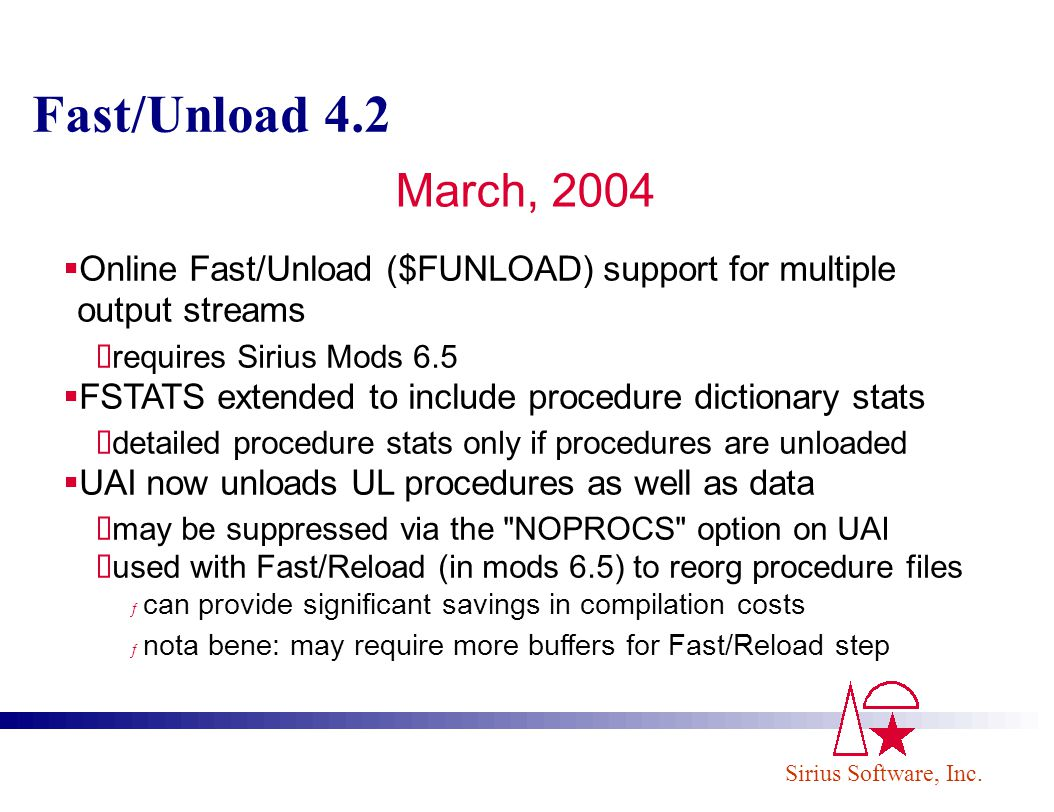 Fast/Unload 4.2 March, 2004. Online Fast/Unload ($FUNLOAD) support for multiple output streams. requires Sirius Mods 6.5.