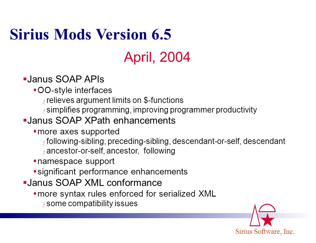 Sirius Mods Version 6.5 April, 2004 Janus SOAP APIs
