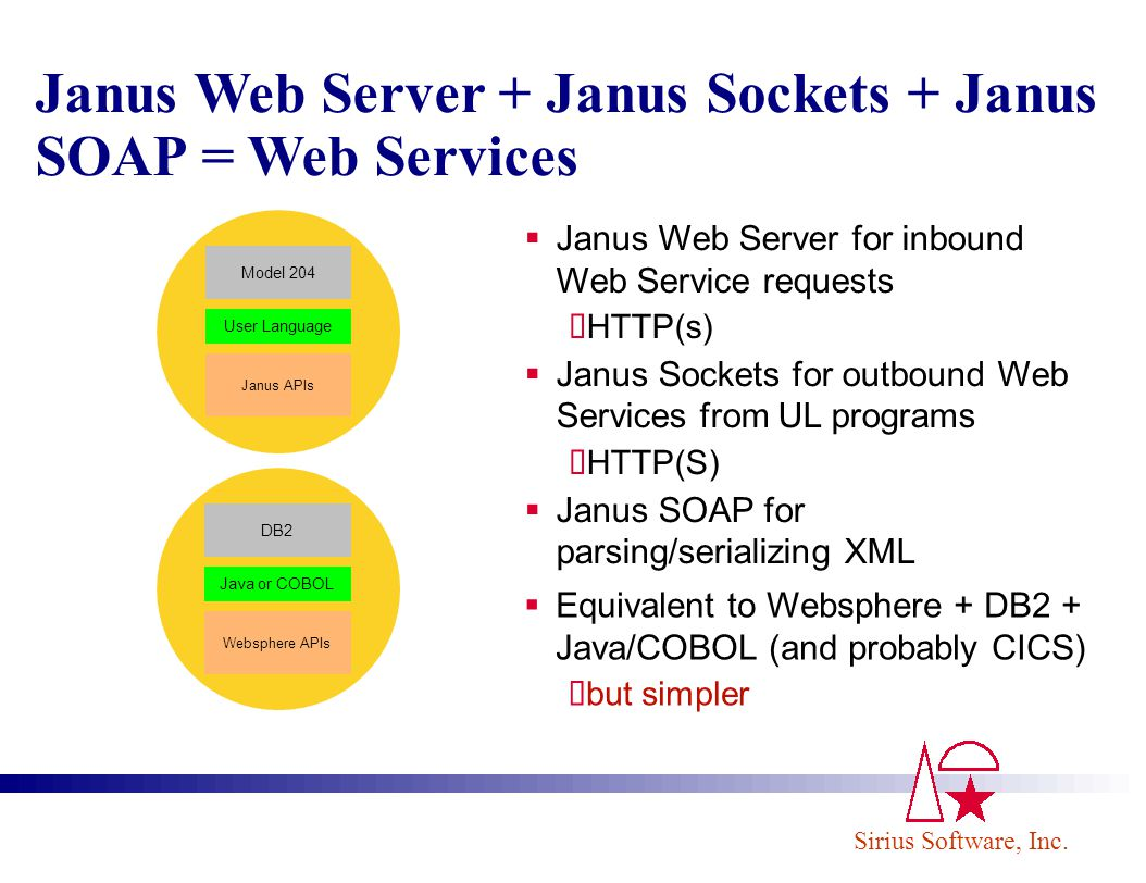 Janus Web Server + Janus Sockets + Janus SOAP = Web Services