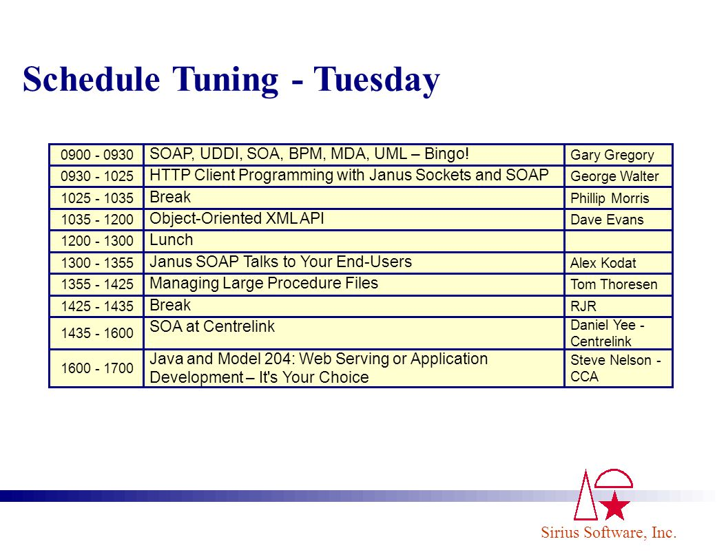 Schedule Tuning - Tuesday