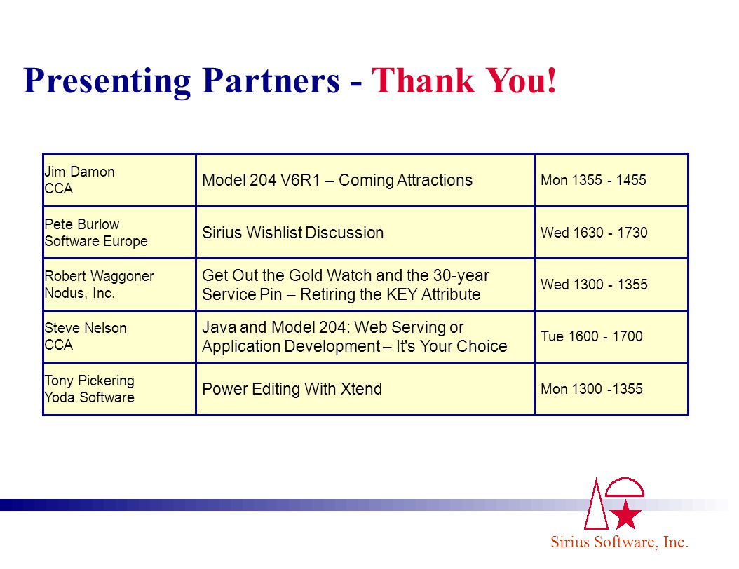 Presenting Partners - Thank You!