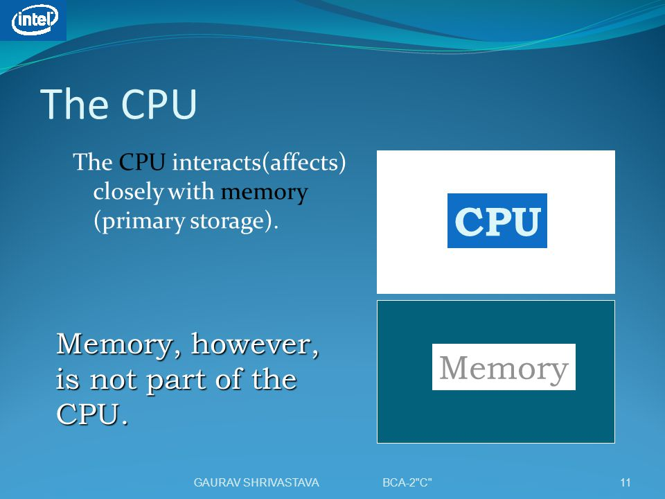 The CPU CPU Memory Memory, however, is not part of the CPU.