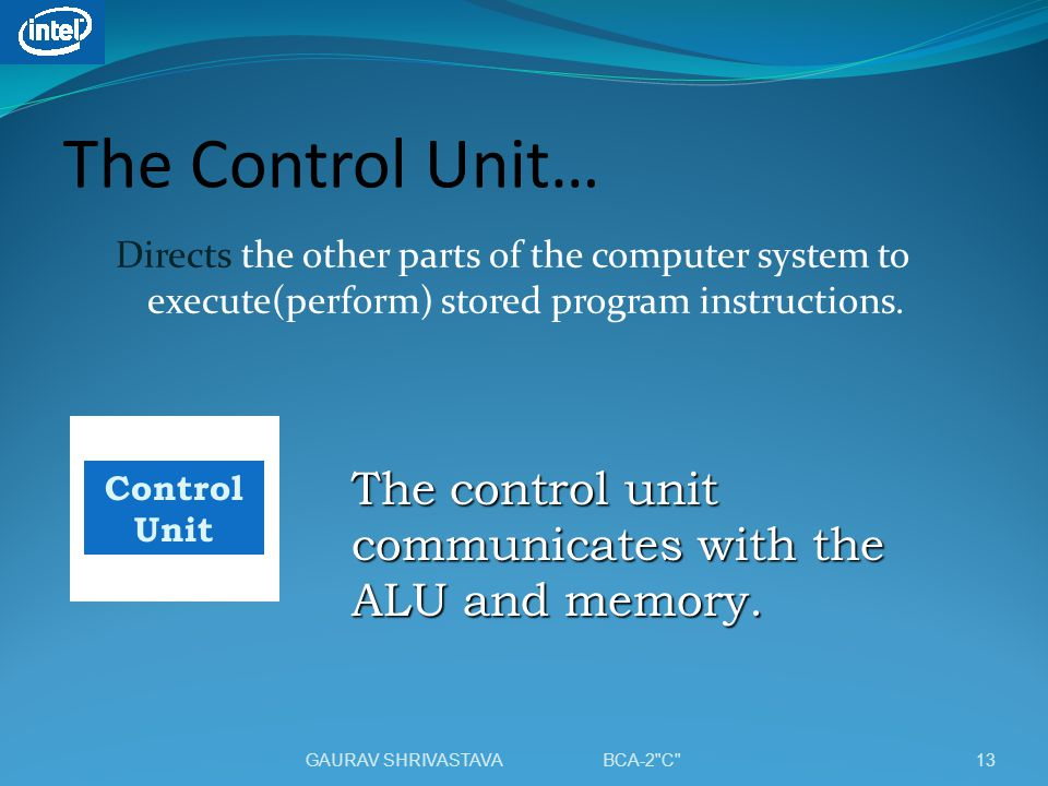 The Control Unit… Directs the other parts of the computer system to execute(perform) stored program instructions.