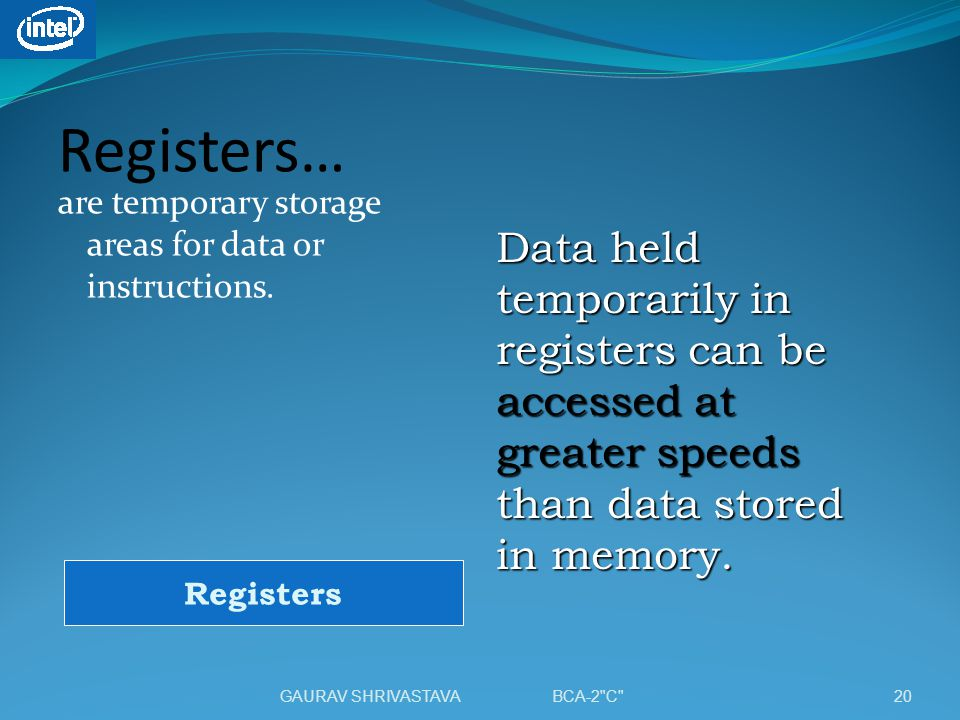 Registers… are temporary storage areas for data or instructions.