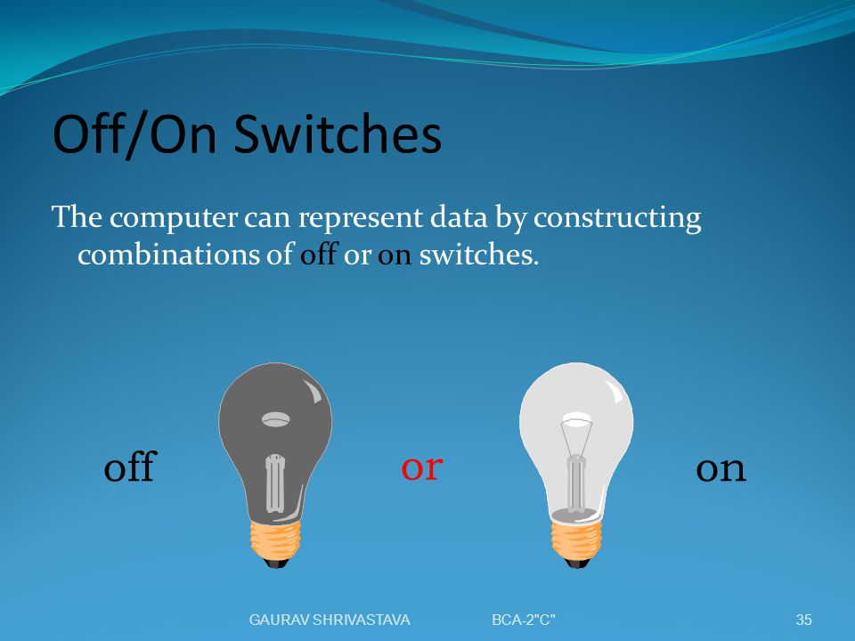 Off/On Switches off or on