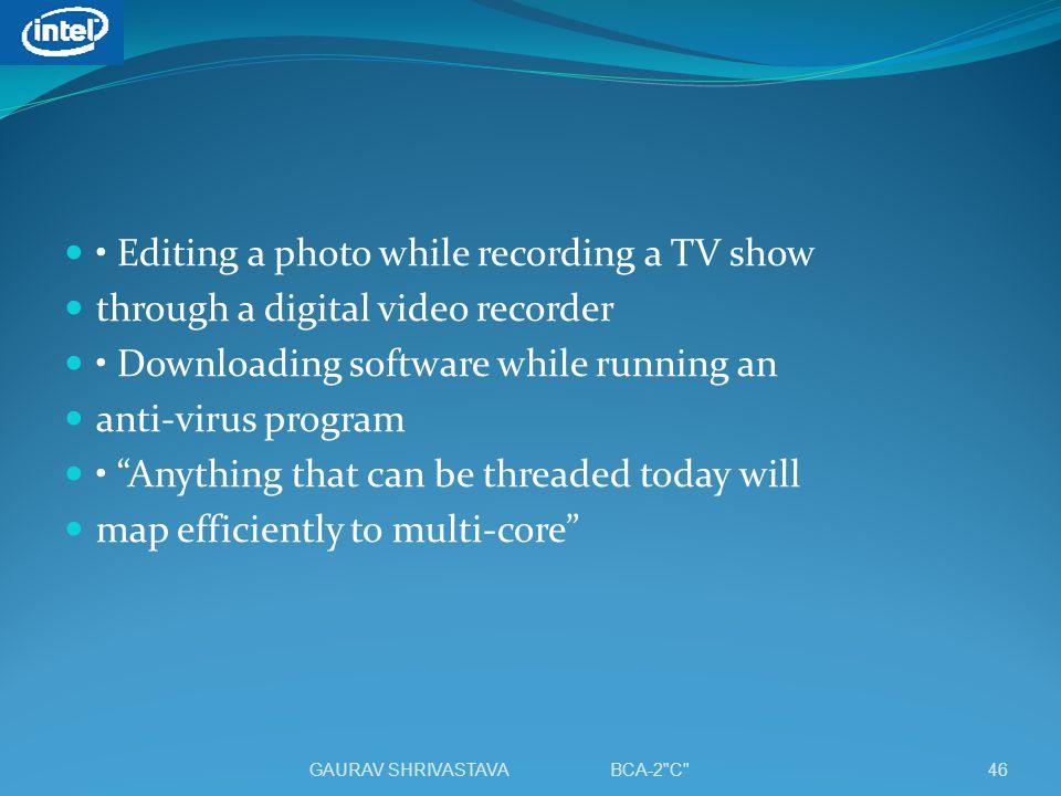 • Editing a photo while recording a TV show