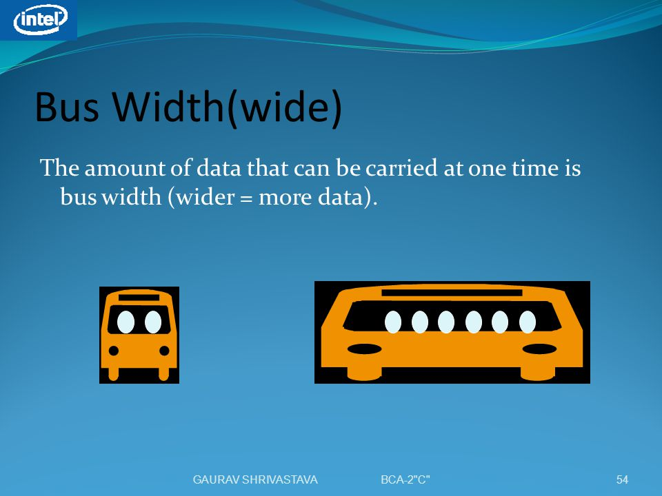 Bus Width(wide) The amount of data that can be carried at one time is bus width (wider = more data).