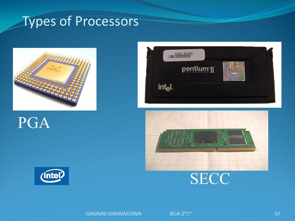 Types of Processors PGA SECC GAURAV SHRIVASTAVA BCA-2 C