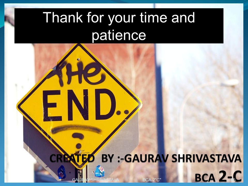 CREATED BY :-GAURAV SHRIVASTAVA BCA 2-C