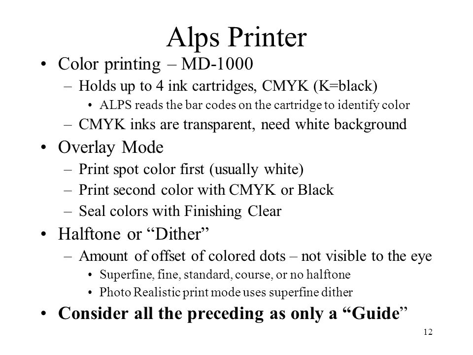 Alps Printer Color Printing MD 1000 Overlay Mode