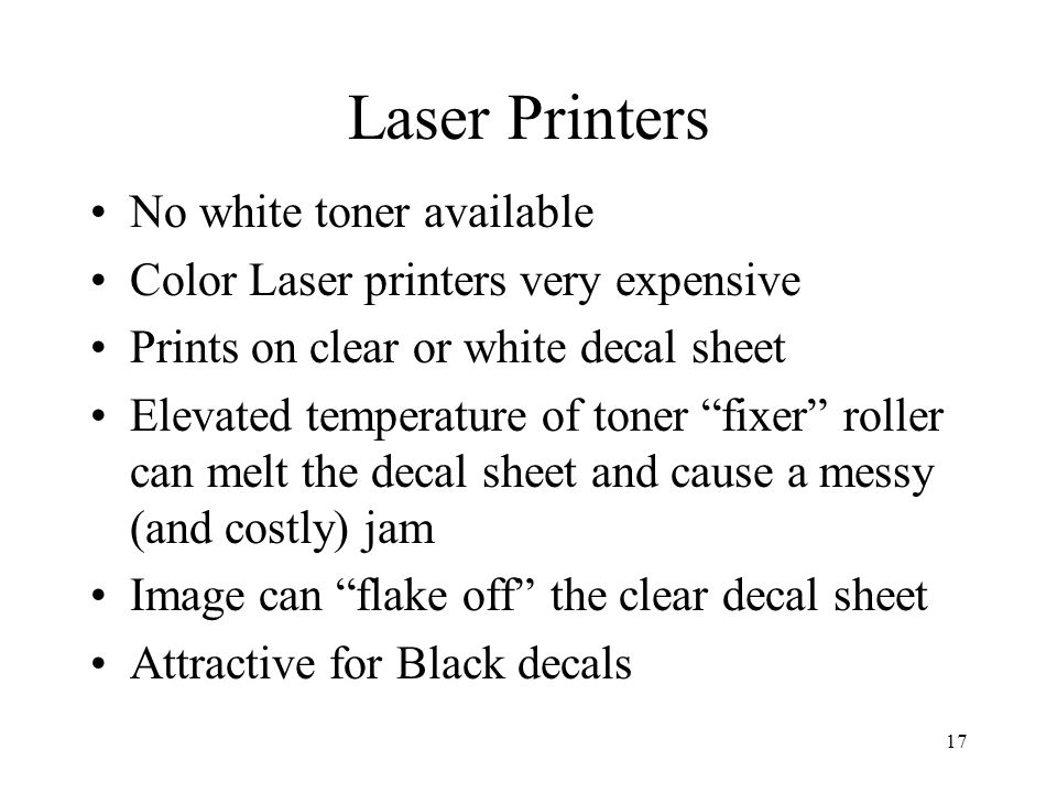 Laser Printers No white toner available