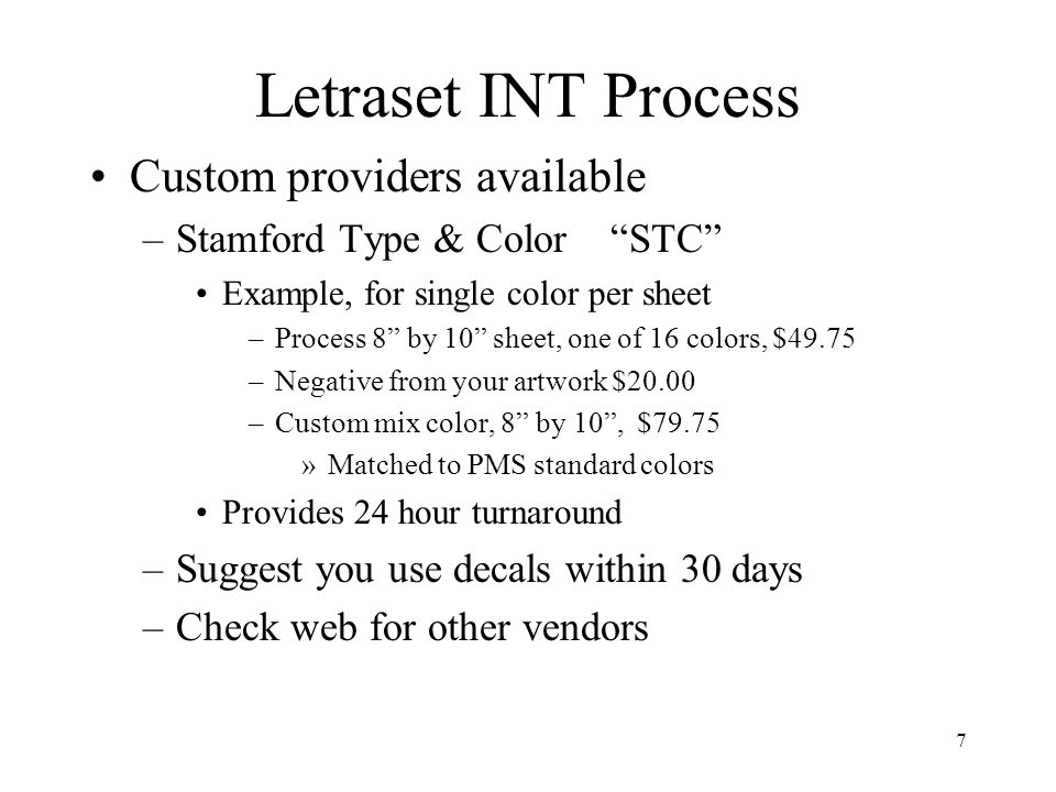 Letraset INT Process Custom providers available