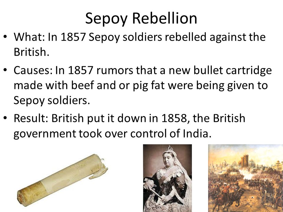 Sepoy Rebellion What: In 1857 Sepoy soldiers rebelled against the British.