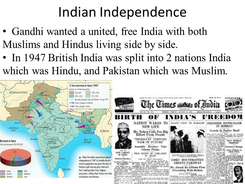 Indian Independence Gandhi wanted a united, free India with both Muslims and Hindus living side by side.