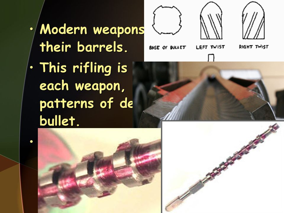Modern weapons have rifling in their barrels.