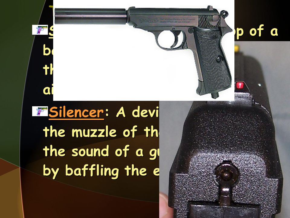 Terminology Sights: The device(s) on top of a barrel that allow the gun to be aimed.